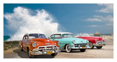 Cars in Avenida de Maceo, Havana, Cuba-Pangea Images-Giclee Print
