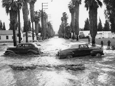 Cars on a Flooded Road in California, Usa--Photographic Print