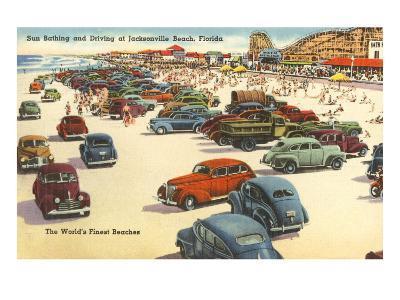 Cars on Beach, Jacksonville, Florida--Art Print