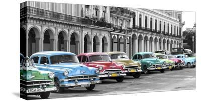 Cars parked in line, Havana, Cuba-Pangea Images-Stretched Canvas Print