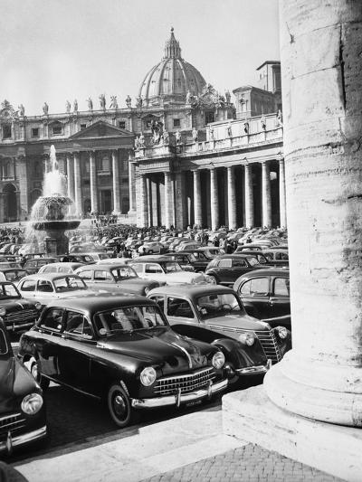 Cars Parking for Vatican Visit--Photographic Print
