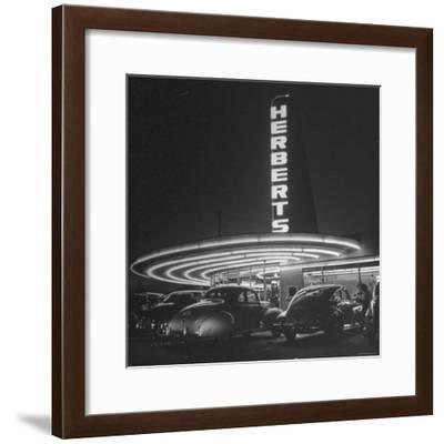 Cars Sitting Outside of a Drive in Restaurant-Nina Leen-Framed Photographic Print