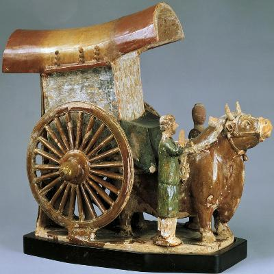 Cart Pulled by Ox, Glazed Tri-Color Pottery Funerary Model, China--Giclee Print