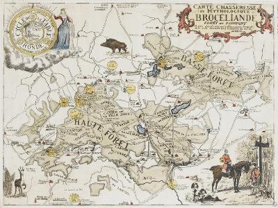 Carte chasseresse et mythologique de Brocéliande, forêt de Paimpont--Giclee Print
