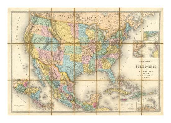 Carte Generale Des Etats, c.1865-Eugene Andriveau-goujon-Art Print