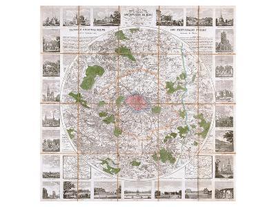 Carte Routière de Paris 1839- Anchin-Art Print