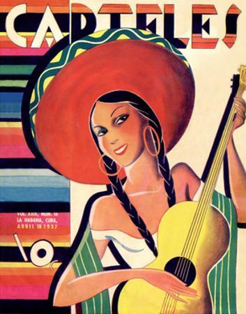 Carteles, Retro Cuban Magazine, Senorita Playing Guitar
