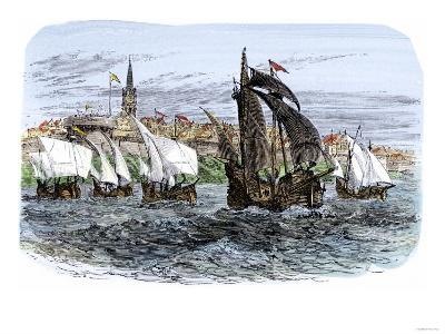 Cartier's Ships Leaving St. Malo, France, to Sail for North America, c.1530--Giclee Print