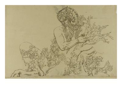 """Carton 49. Etude du Grand Pan pour """"Jupiter et Sémélé""""-Gustave Moreau-Giclee Print"""