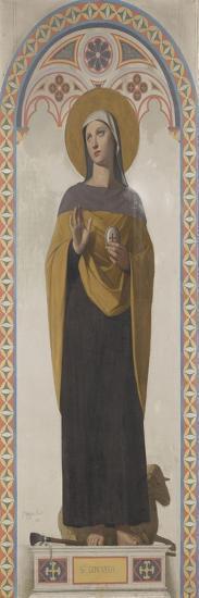 Carton pour les Vitraux de la chapelle Saint Louis à Dreux : Sainte Geneviève, patronne de Paris-Jean-Auguste-Dominique Ingres-Giclee Print