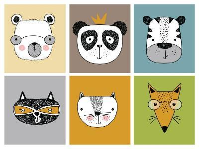 Cartoon Animal Set Vector / Children Illustration-Mehmet GUNEY-Art Print