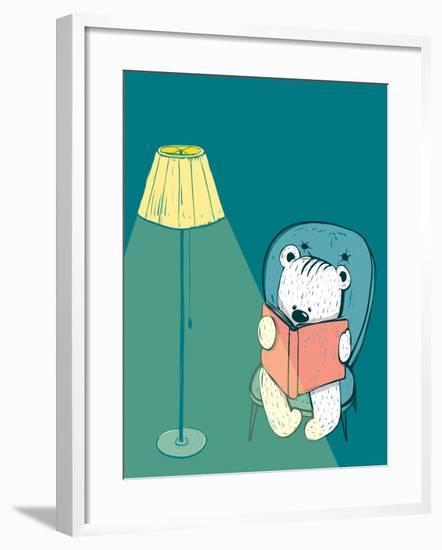 Cartoon Baby Bear Reading a Book. Hand Drawn Childish Bear Reading. Vector Illustration.-Popmarleo-Framed Art Print