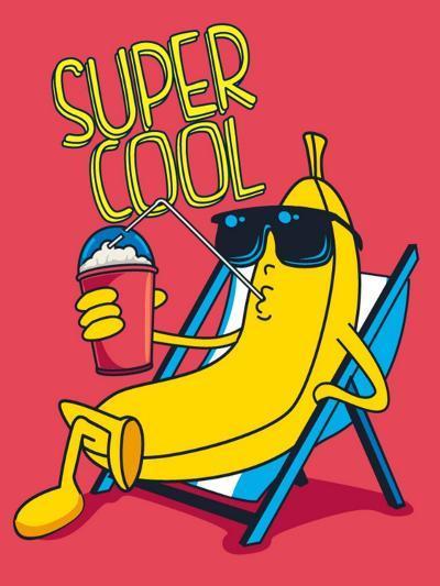 Cartoon Banana Vector Character, Milkshake- braingraph-Art Print