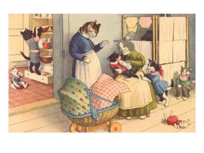 Cartoon Cats Playing House--Art Print
