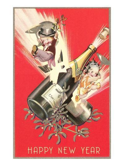 Cartoon Children with Champagne Bottles--Art Print