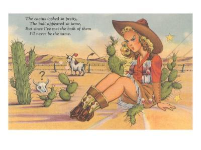 Cartoon Cowgirl on Cactus--Art Print