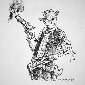 Cartoon Depicting Lyndon B. Johnson's Vigorous Domestic and Cautious Foreign Policies