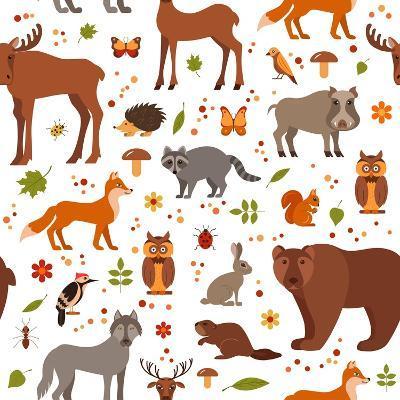 Cartoon Forest Animals-Glinskaja Olga-Art Print