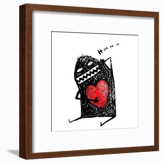 Cartoon Fun Amazing Character Scribble Love with Red Heart Inside. Cartoon Character with Red Heart-Popmarleo-Framed Art Print