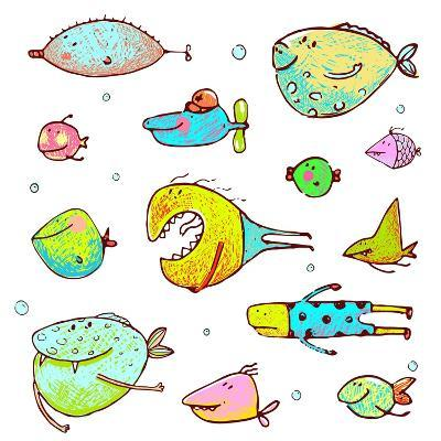 Cartoon Fun Humorous Fish Drawing Collection. Funny Cartoon Brightly Colored Fish Drawing Set. Penc-Popmarleo-Art Print