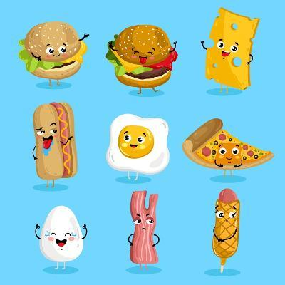 Cartoon Funny Fast Foods Characters Isolated Vector Illustration. Funny Food Face Icon. Fast Food E-studioworkstock-Art Print
