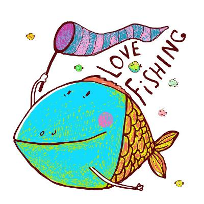 Cartoon Funny Fish Greeting Card Design Hand Drawn. Humorous Cartoon Hand Drawn Colorful Fish Holdi-Popmarleo-Art Print