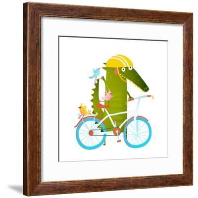 Cartoon Green Funny Crocodile in Helmet with Bicycle and Birds Friends. Funny Crocodile with Bicycl-Popmarleo-Framed Premium Giclee Print