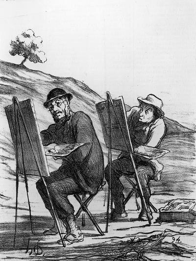 Cartoon Lampooning Landscape Painters, from 'Charivari' Magazine, 12 May, 1865 (Litho)-Honore Daumier-Giclee Print
