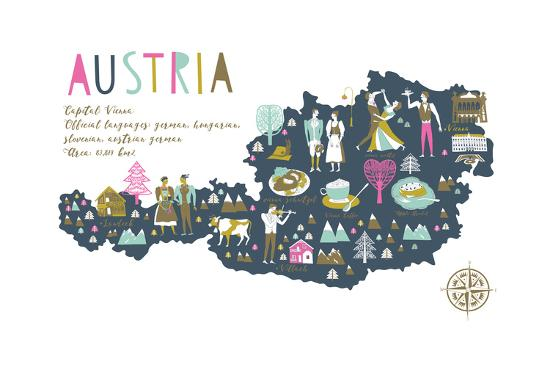 Cartoon Map of Austria with Legend Icons-Lavandaart-Art Print