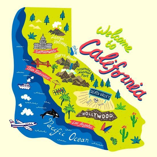 Cartoon Map of California.Travels Art Print by Daria_I | Art.com on connecticut map, california beach, california absolute location, alaska map, california outline, illinois map, wyoming map, alabama map, california cities, california region, georgia map, california water, california county, california counties, kansas map, california climate, indiana map, california trees, michigan map, california highways, california history, delaware map, california sketch, hawaii map, california nickname, arkansas map, california delta, california biomes, new york map, california geography, california mountains, california people, north carolina map,