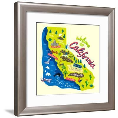 Cartoon Map of California.Travels-Daria_I-Framed Premium Giclee Print