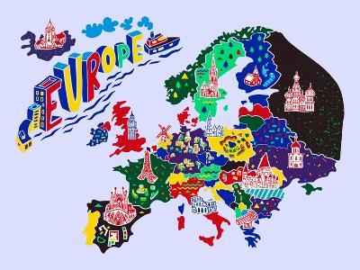Cartoon Map of Europe. Travels-Daria_I-Art Print