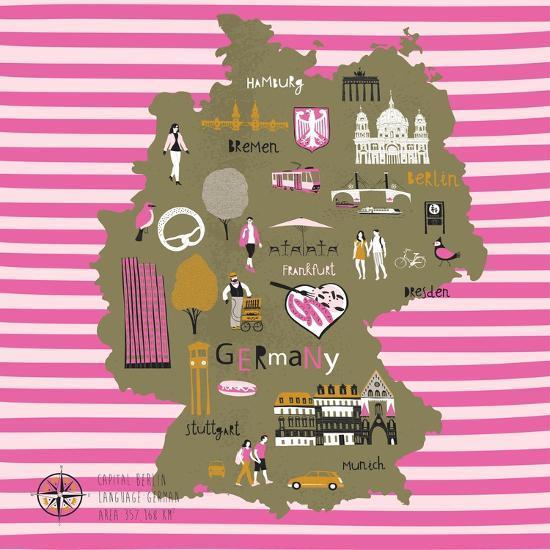Cartoon Map Of Germany.Cartoon Map Of Germany With Legend Icons Art Print By Lavandaart Art Com
