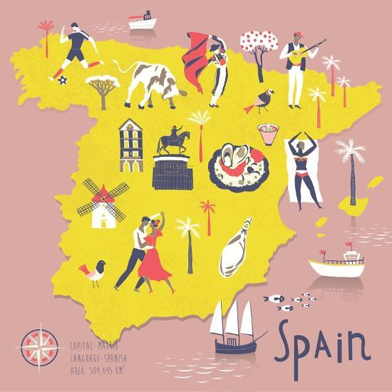 Map Of Spain For Printing.Cartoon Map Of Spain With Legend Icons Art Print By Lavandaart Art Com