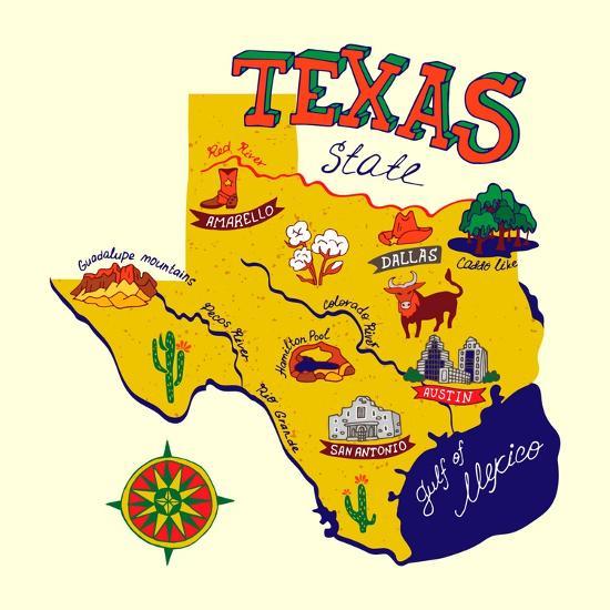 cartoon map of texas travels art print daria i art com cartoon map of texas travels by daria i
