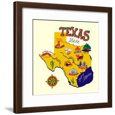 Cartoon Map of Texas.Travels-Daria_I-Framed Premium Giclee Print