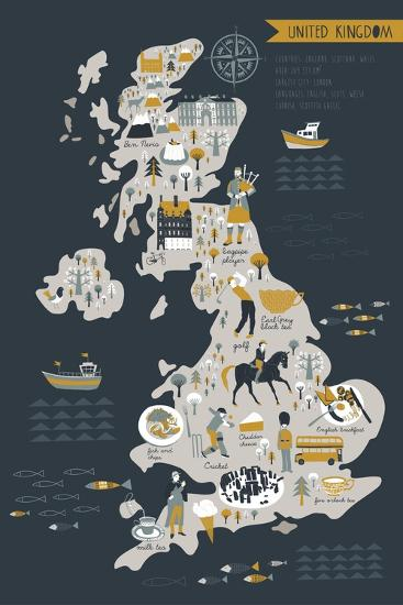 Cartoon Map of United Kingdom with Legend Icons-Lavandaart-Art Print