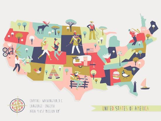 Cartoon Map Of Usa With Legend Icons Art Print By Lavandaart Artcom - Cartoon-map-of-the-us
