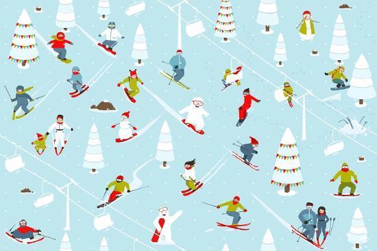 Cartoon Mountain Ski Resort Seamless Pattern. Mountain Skiing Background Winter Resort with People-Popmarleo-Art Print