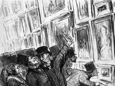 Cartoon of an Artist Being Comforted at the 1859 Paris Salon over the Position of His Work-Honore Daumier-Giclee Print