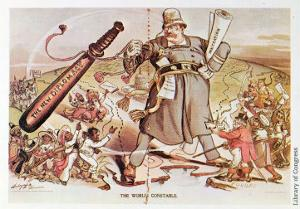Cartoon of President Roosevelt Portrayed as a Giant Policeman Astride Two Continents