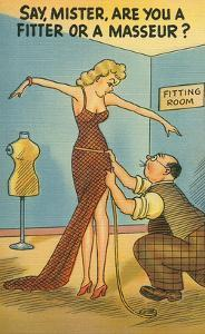 Cartoon of Woman and Tailor