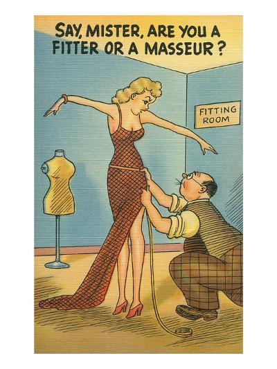 Cartoon of Woman and Tailor--Art Print
