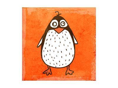 Cartoon Penguin. Cute Hand Drawn, Vintage Paper Texture-Ozerina Anna-Art Print