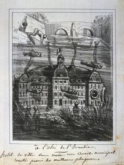 Cartoon Proposal to Rebuild the Hotel De Ville under Water to Prevent Fire, Paris Commune, 1871--Giclee Print