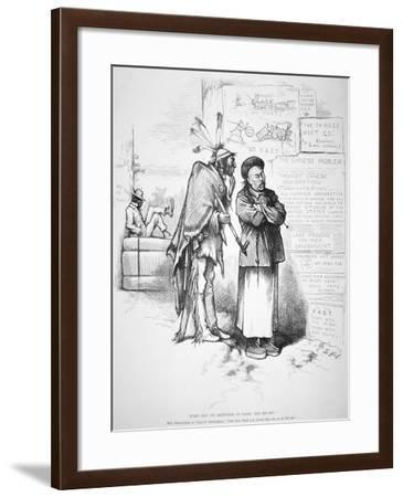 Cartoon Published in 'Harper's Weekly', on the White American Fear That the Chinese Will Crowd…-Thomas Nast-Framed Giclee Print