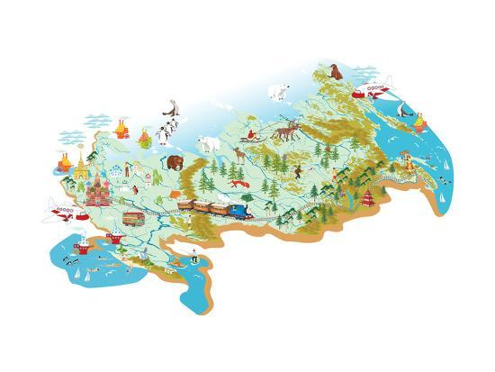 Cartoon Vector Map Of Russia With A Symbol Of Moscow St Basils