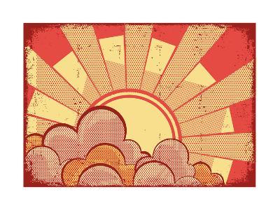 Cartoons Grunge Background-GeraKTV-Art Print