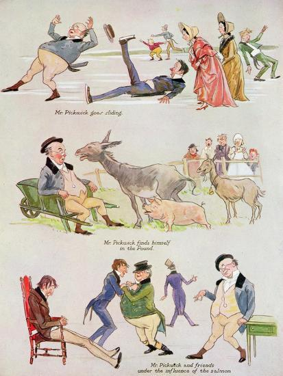 Cartoons of Mr. Pickwick from 'Holly Leaves'-Henry Harris-Giclee Print