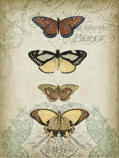 Cartouche and Butterflies I-Jennifer Goldberger-Art Print